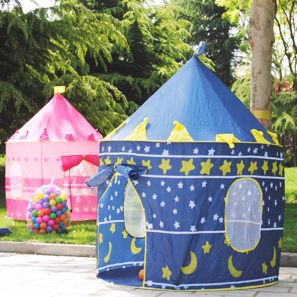 Oyuncak çadır sıcak büyük pembe ve mavi kale oyuncak çadır ev - Kamp ve Yürüyüş - Fotoğraf 2