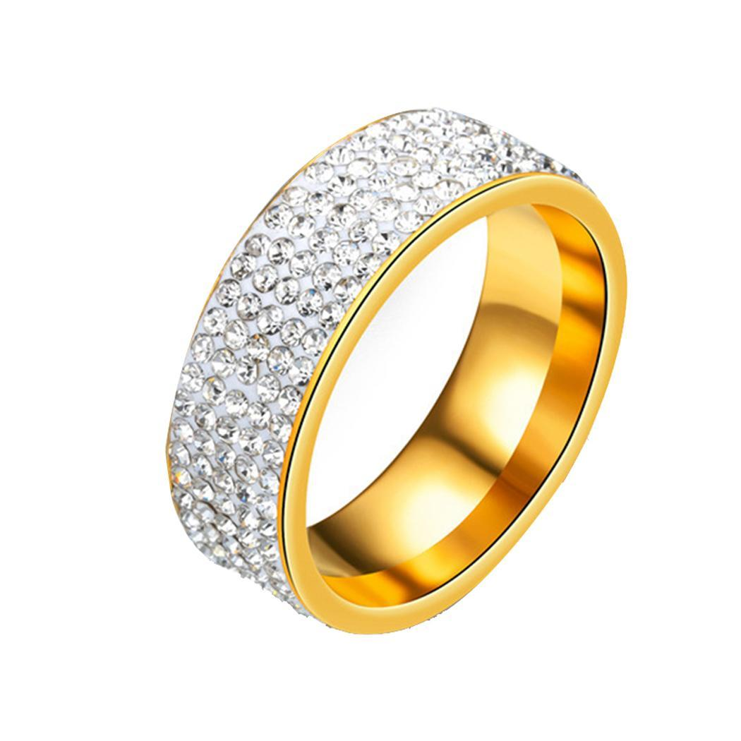 Women Men Ring 5 Row Rhinestone Retro Style Fashion Gold, Silver Stainless Steel Engagement Wedding Rings(China)