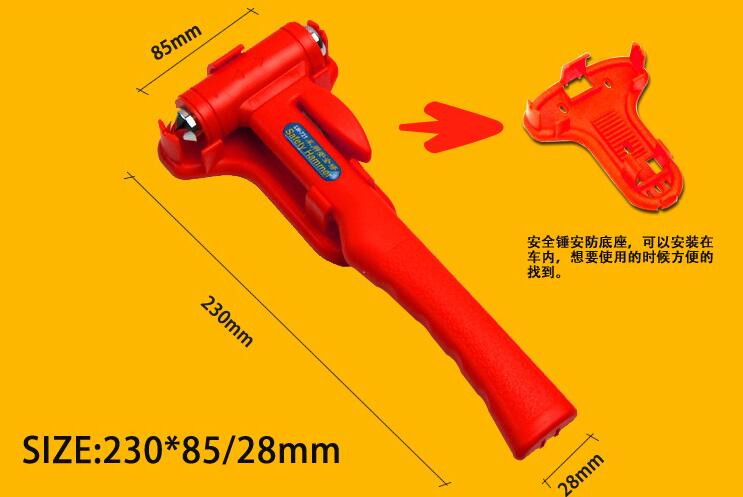 Купить с кэшбэком Car Rescue Tool Escape Emergency Hammer with long handle Safety hammer Life Saving Seat Belt Cutter Window Glass Breaker