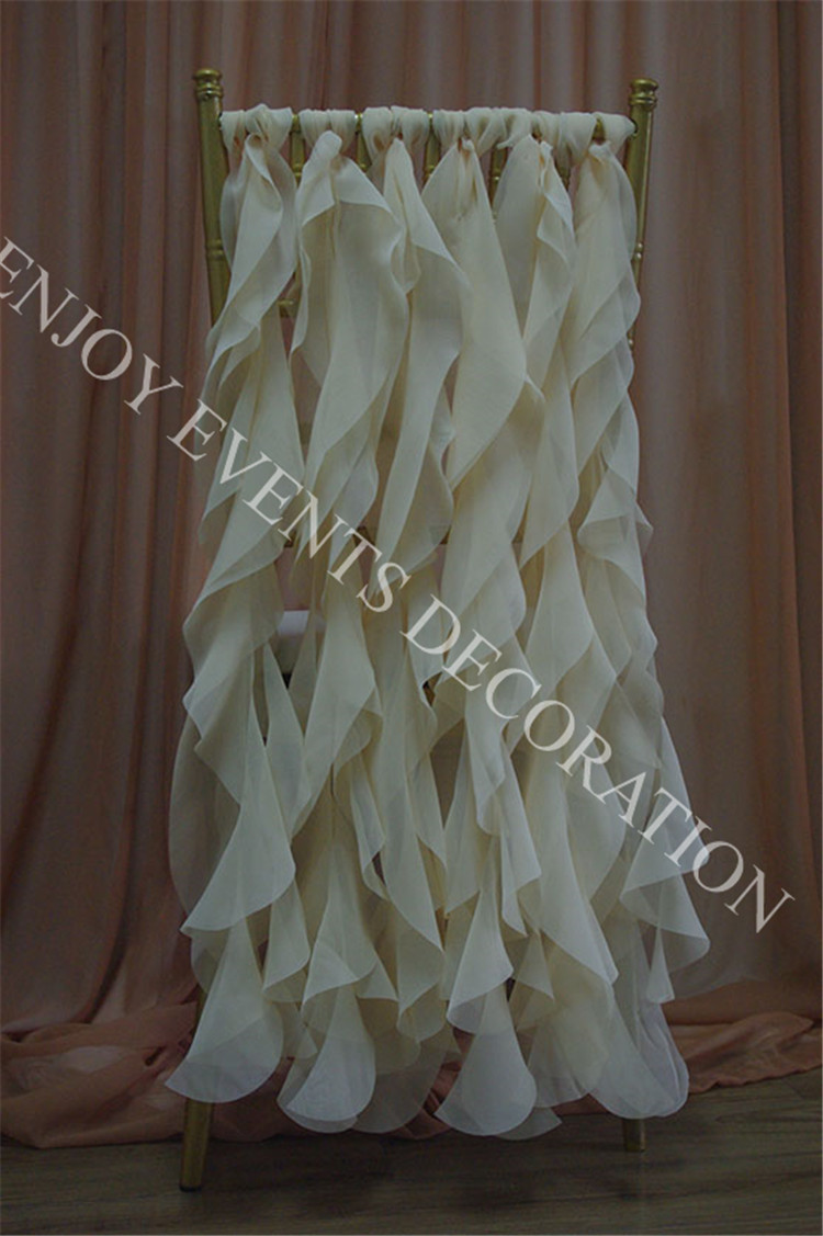 wedding chair sash gaming target 200pcs yhc#212 fancy chiffon curly willow back polyester banquet wholesale ...