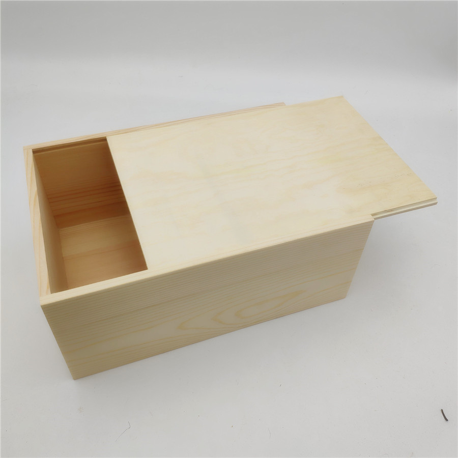 Big Wooden Box Holder For Packing Flower Gift Wood Storage Box With Sliding Lid For Photo Album 25*17*10cm