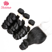 Natural Color Peruvian Human Hair Weave Loose Wave Three Bundles With 4*4 Closure Non Remy Hair No Tangle Free Shipping