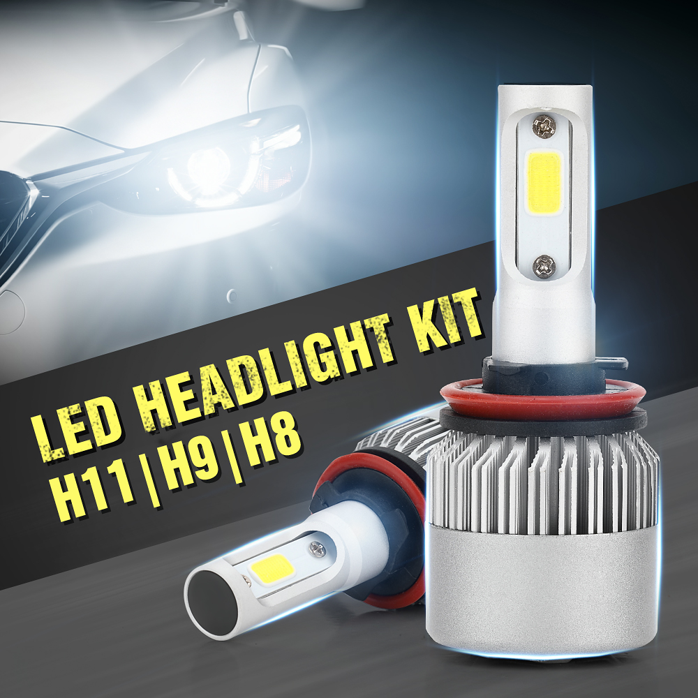 EURS Light S2 H11/H9/H8 COB LED Headlight Bulbs H4 H7 H1 H13 12V 9005 9006 H3 9004 9007 9012 36W 6000LM 6000K LED Lamp
