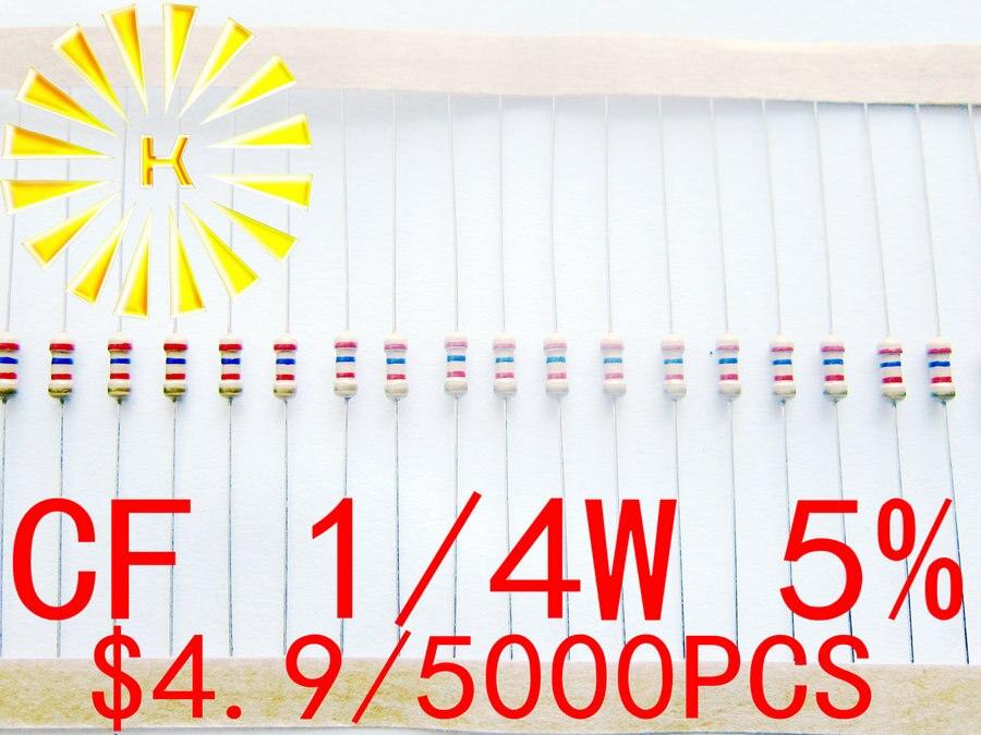 CF 1/4W 5% на ленте 0,1-0.91R 0R 1R-10M резистор из углеродистой Пленки x 5000 шт