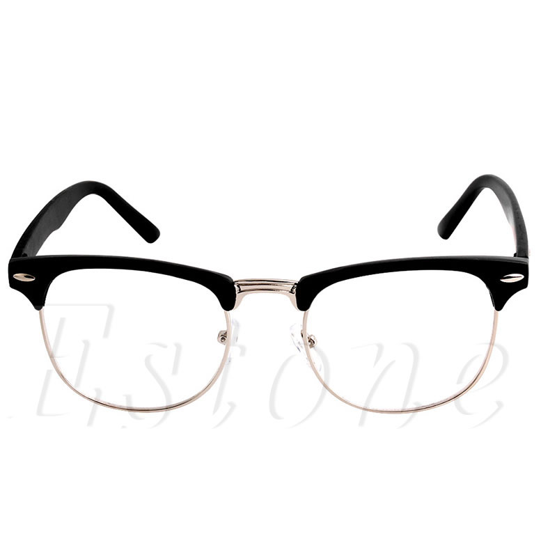 1 Pc Mode Metall Halb Rahmen Gläser Rahmen Retro Frau Männer Lesen Glas Klar Objektiv Computer Brillen Rahmen