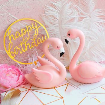 Qify Wedding Flamingo Cake Topper Pink Flamingo Party Decor Home
