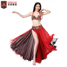 Women Belly Dance Costume Set Bra Top Skirt Dress Hollywood Carnival Outfits Beaded Belt