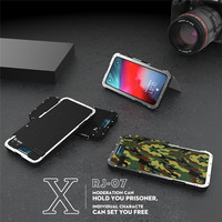 R just All Round Protection Metal Phone Case for iphone XS MAX XR Heavy Duty Filp Protect Cover for 8 7 6s Plus with Kickstand