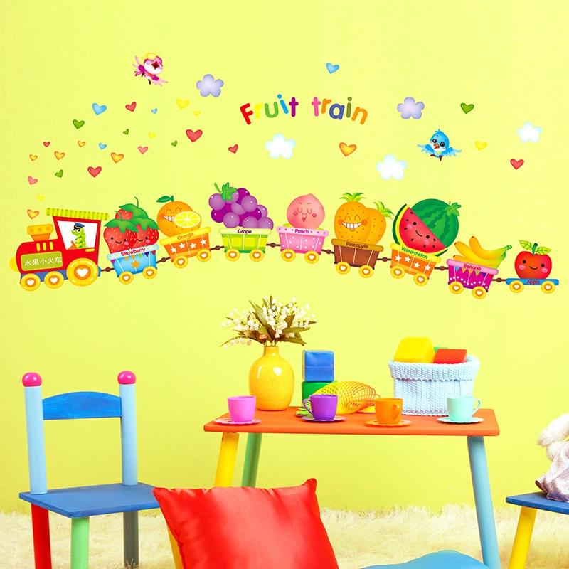 Fruit cartoon train children\'s room wall stickers baby room nursery ...