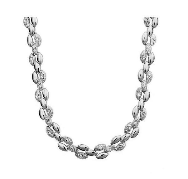 Качественное позолоченное ожерелье в виде пшеничного колоска, женские вечерние ювелирные изделия для девушек, Прямая поставка, стразы, классические подарки, цепочка на свитер - Окраска металла: silver color
