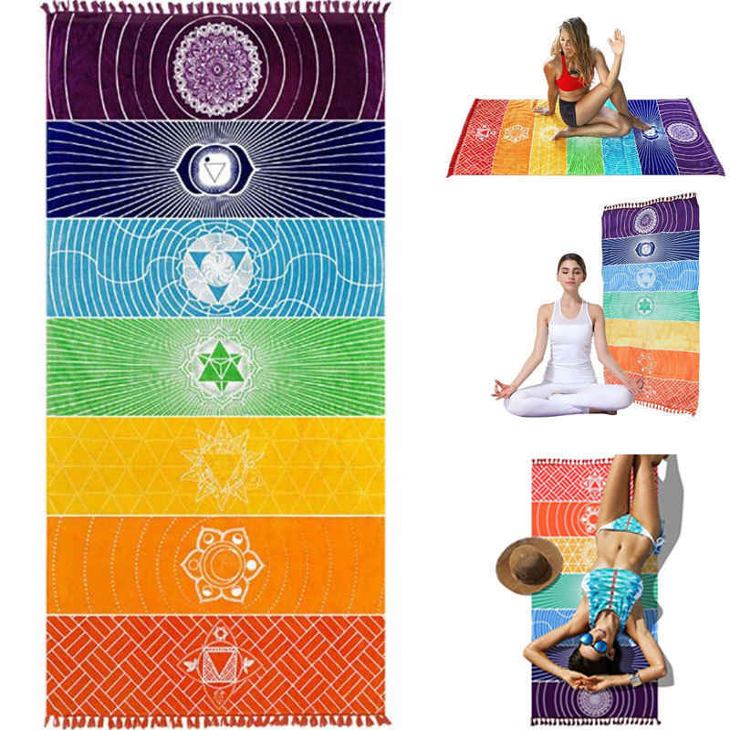 22a46ee76fdfbb Summer Tassel Rainbow Mandala Blanket Wall Hanging Tapestry Boho Strip  Beach Travel Towel Colorful Yoga Mat