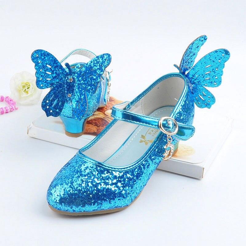 Meninas sapatos de couro crianças moda princesa sapatos de festa outono da criança elsa sapatos chaussure enfants fille salto alto EUR26-37