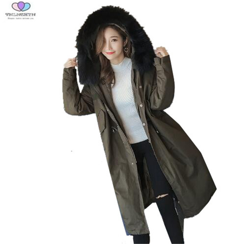 2017 New Winter Jacket Fashion Fur Collar Medium long Down Cotton Jacket Thick Parka Casual Hooded Winter Coat TNLNZHYN E260