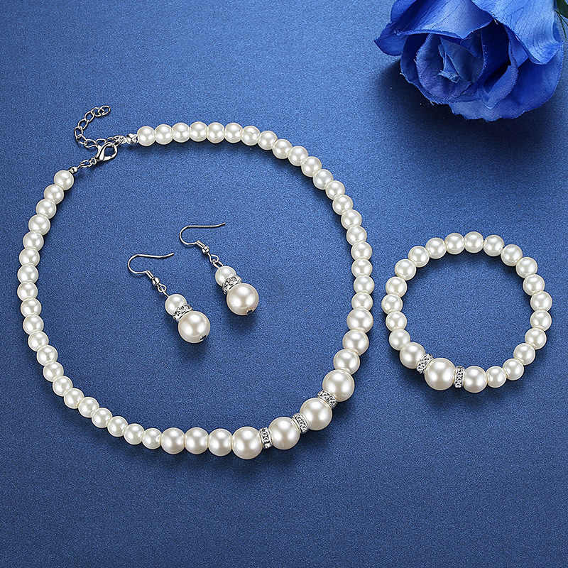 Wedding Party Acessories Bridal Jewelry Sets for Women Silver Pearl Australia Pendant Earrings Necklace Bracelet bangles