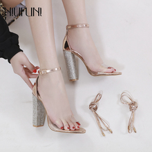 Women Rhinestone Ankle Strap Sandals Clear Chunky Heels Dress Party Pumps Wedding Shoes 2 Ways Open Toe High Heels Lady Shoes summer new sandals chunky heel floral silver wedding dress shoes rhinestone luxurious genuine leather prom party high heels
