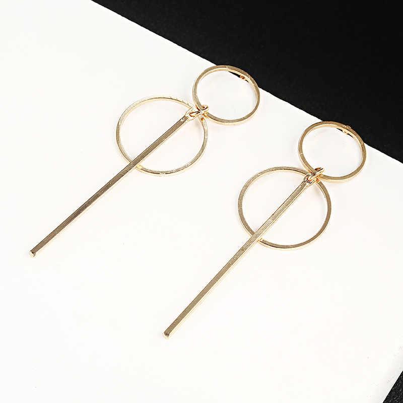 2019 女性のためのゴールドカラー幾何スタッドビッグイヤリング金属声明ヴィンテージジュエリーファッションイヤリング