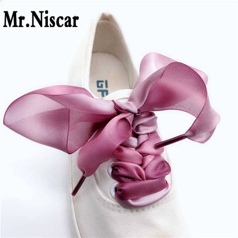 f43290a281a652 Cheap High Quality Polyester Satin Ribbon Shoelaces Flat for Canvas Shoes  Personality Shoelace Women Fashion Cool