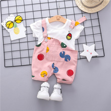 Korean Toddler Baby Set T-shirt & Backstrap Trousers Two-piece Suit Newborn Cotton Unisex Summer Clothes Brand Outfit