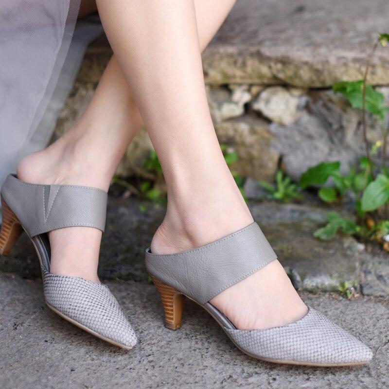 Gris Sandales La Mode Cuir Femmes Artmu Fermé Bout Pour Chaussures À Chaussons Pointu Main En Orteils Confort Véritable Noir gris Habillées Uzqq1wFP