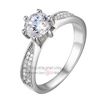 925 Sterling Silver Jewelry Classic Ring 6 5mm Heart And Arrows CZ Diamond Engagement Ring