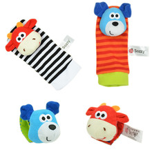 4 pcs/lot Cute Baby Infant Toy Soft Handbells Hand Wrist Strap Rattles/Animal Baby Socks Foot Finders Developmental Toys