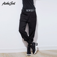 High Quality Women Harem Pants Spring Autumn Personality Loose Big Pockets Zipper Decoration Belted Pencil Pants Female Trousers
