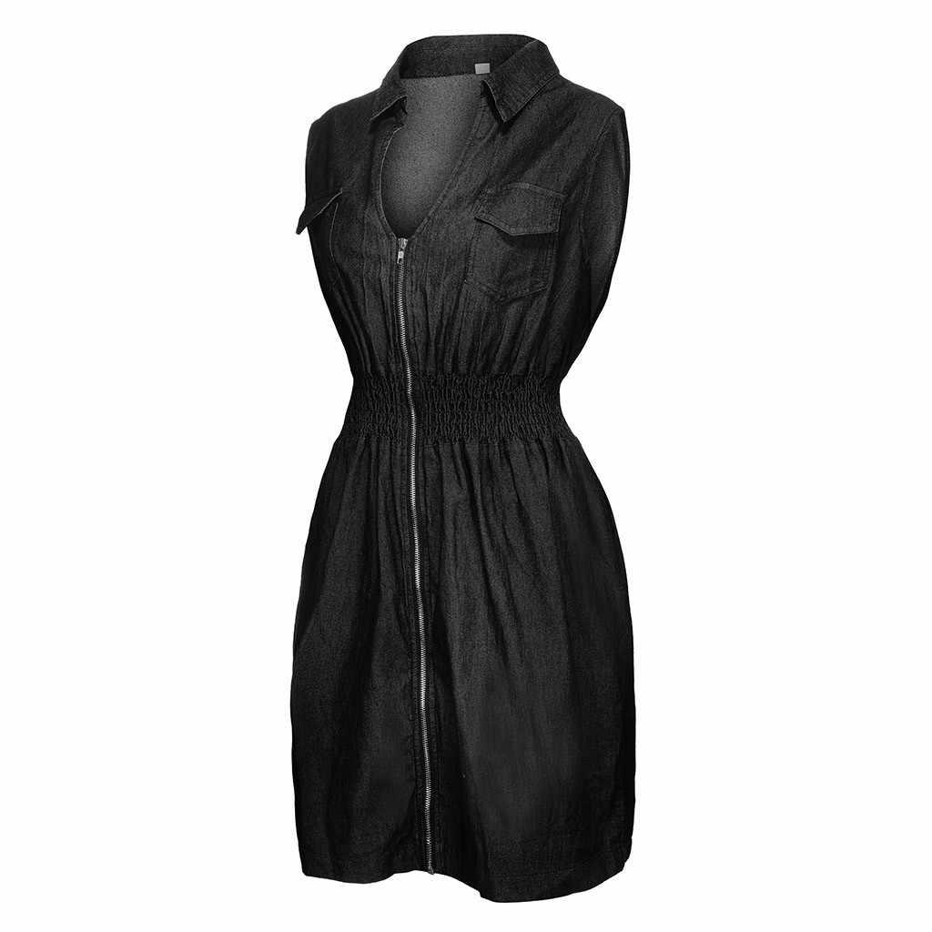 JAYCOSIN джинсовое женское платье размера плюс, летнее модное женское платье без рукавов с карманами на молнии и v-образным вырезом, большие женские платья vestidos 716
