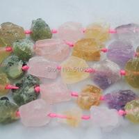 15 5 Length 1 String Nature Rough Amethyst Citrine Rose Quartz Prehnite Stone Luxury Necklace Christmas