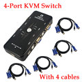 1set  4 KVM Switch Cables+  Hub 4 Port  USB 2.0 KVM VGA/SVGA Switch Box Adapter Connects Printer keyboard Mouse 4 Computers