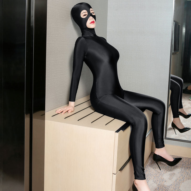 <font><b>Sexy</b></font> Women Bodystocking Zipper Open Crotch Shiny Cosplay Full Bodysuit Pantyhose <font><b>Catsuit</b></font> <font><b>Sexy</b></font> <font><b>Erotic</b></font> Lingerie With Mask F33 image