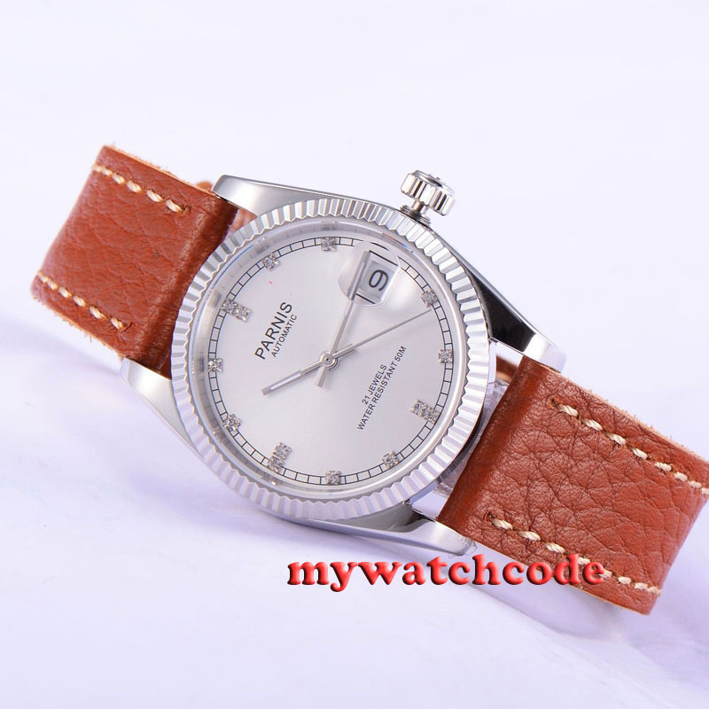 36mm Parnis silver dial Sapphire glass 21 jewels Miyota automatic mens watch 535 цена и фото