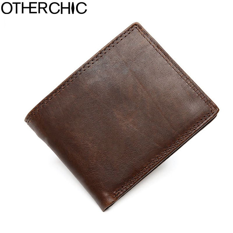 OTHERCHIC Genuine Leather Men Wallets Male Mini Wallets Small Thin Male Purses Slim Wallet Mini Purse for Male 17y06-10 genuine leather thin leather wallets for