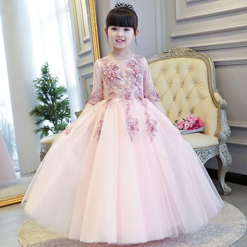 Glizt Half Sleeve Girls Flower Girl Wedding Dress Appliques Party Tulle Princess Birthday Dress First Communion Gown for Gir D22