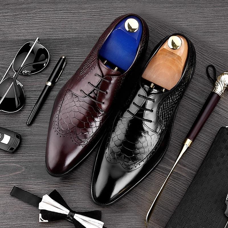 637e45e65c Hombres Británico Negro Cuero Hombre Punta marrón Oxfords De Formal Zapatos  Tallado Estilo Brogue Vendimia Ala Mg77 Auténtico Calzado Vestido ...