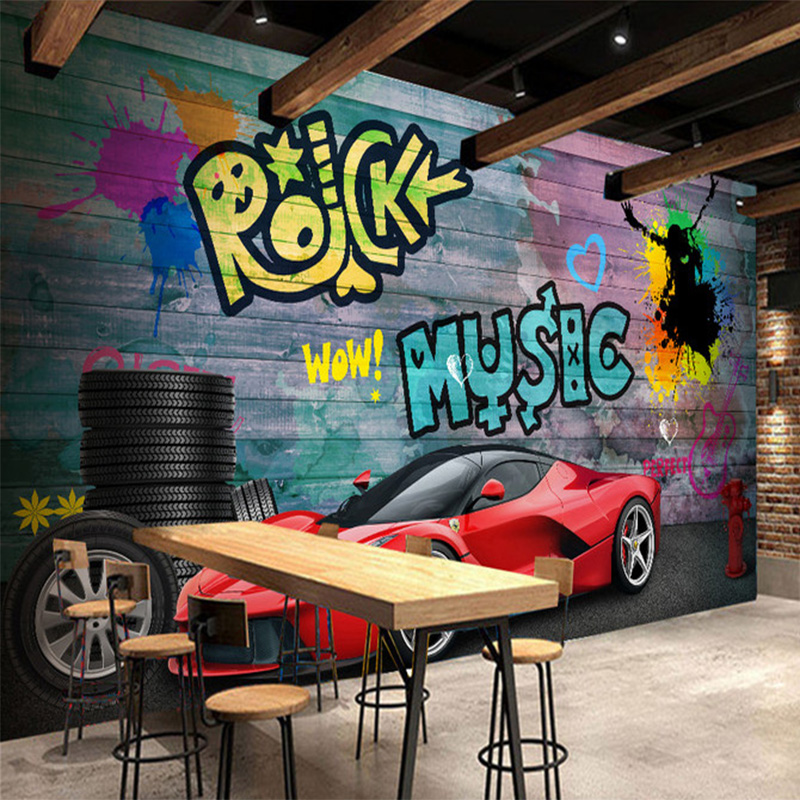 Custom Any Size Mural 3D Stereo Red Sports Car Graffiti Wallpaper Retro Cafe Restaurant Backdrop Wall Decor Fresco Papel Murals