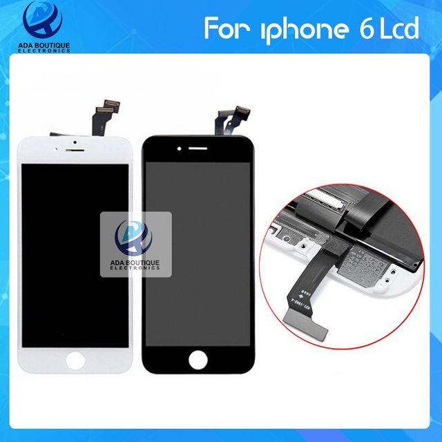 Venta caliente aaa 100% nuevo de alta calidad para el iphone 6 Pantalla LCD de Pantalla Táctil Con la Asamblea Del Digitizador blanco y negro Freeshipp