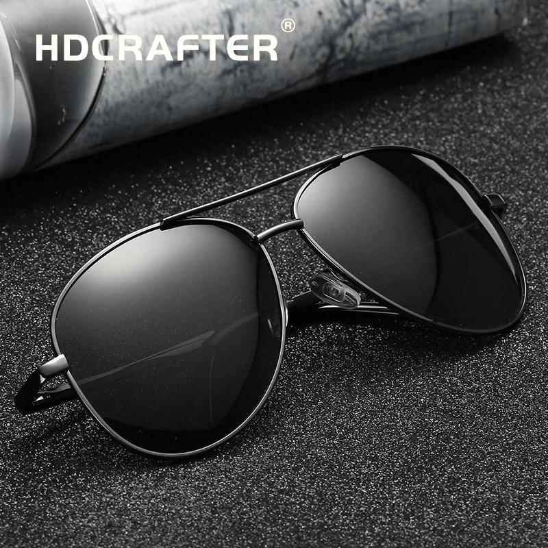 ba327b9a65 HDCRAFTER pilot sunglasses men polarized uv400 high quality retro vintage  men sunglasses polarized driving sunglasses for
