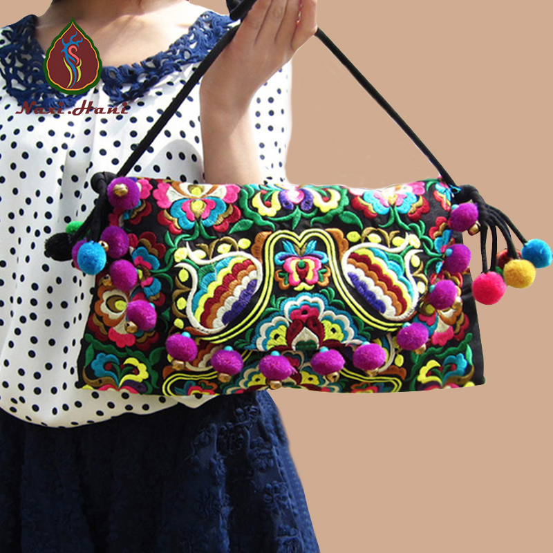 Best Selling Hmong embroidery Women handbags Vintage Fashion Cover Pompon Small bells shouder messenger bags Ethnic