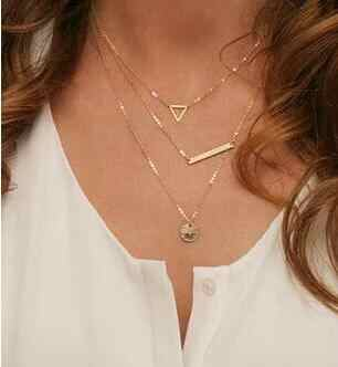 2016 Hottest Fashion Gold Geometric Bar Lariat Necklaces 3 Layers Hollow Round Triangle Pendants Necklaces Clavicle Chain Women