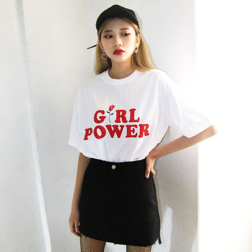 ZSIIBO Fashion Gril Power Letter Print T-Shirt Summer Rose Printing Loose Women T Shirt Lady Short Sleeve White Tops KaTx51