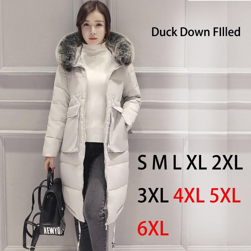 Phalinovic TOPSALE 2017 Brand Women Winter Fur Jacket Lady White Duck Down Long Coat Black Blue Grey Color Parkas Plus Size 6XL