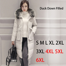 TOPSALE 2016 Brand Women Winter Fur Jacket Lady White Duck Down Long Coat Black Blue Grey Color Parkas Plus Size S 4XL 5XL 6XL