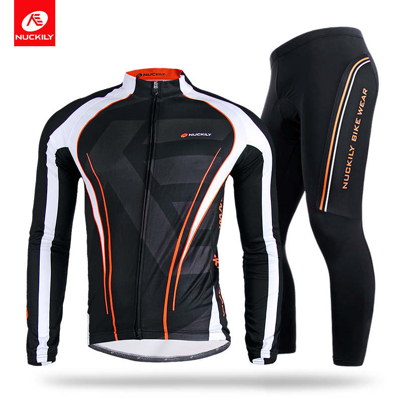 NUCKILY Spring / Autumn Men's Bicycle Jersey Set Quick Drying Long Sleeve Cycling Clothing and Tights Suit  CJ118CK118