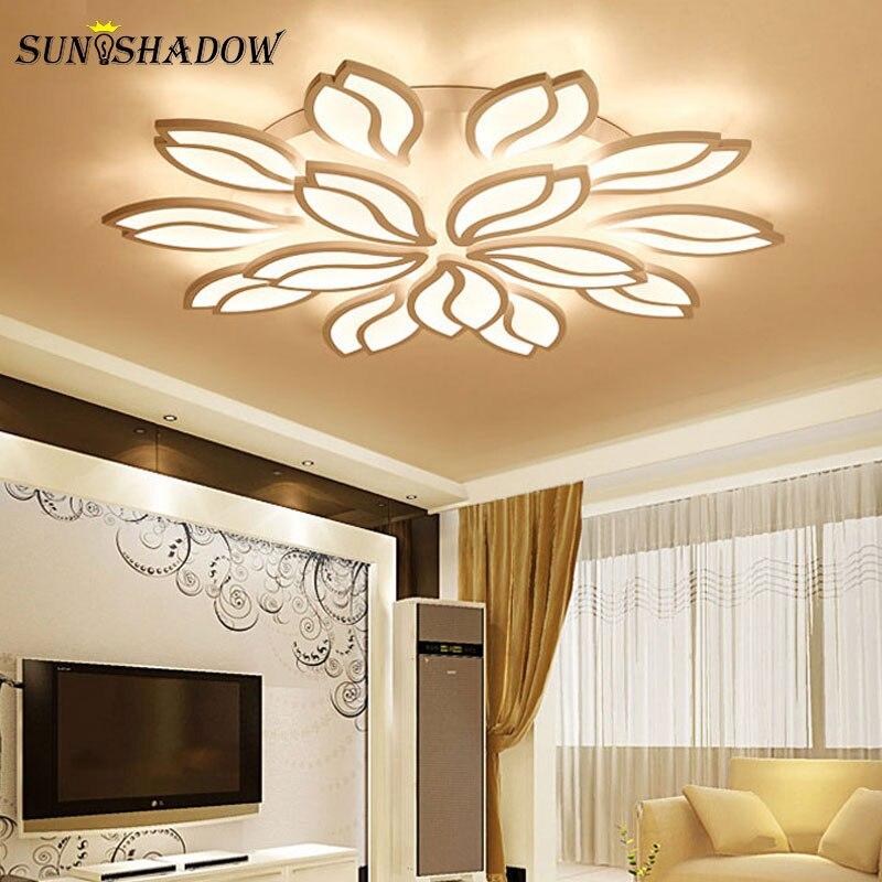 White Modern Led Chandelier For Living Room Bedroom Dining Room Lustres Acrylic Lights Ceiling Chandelier Lamp