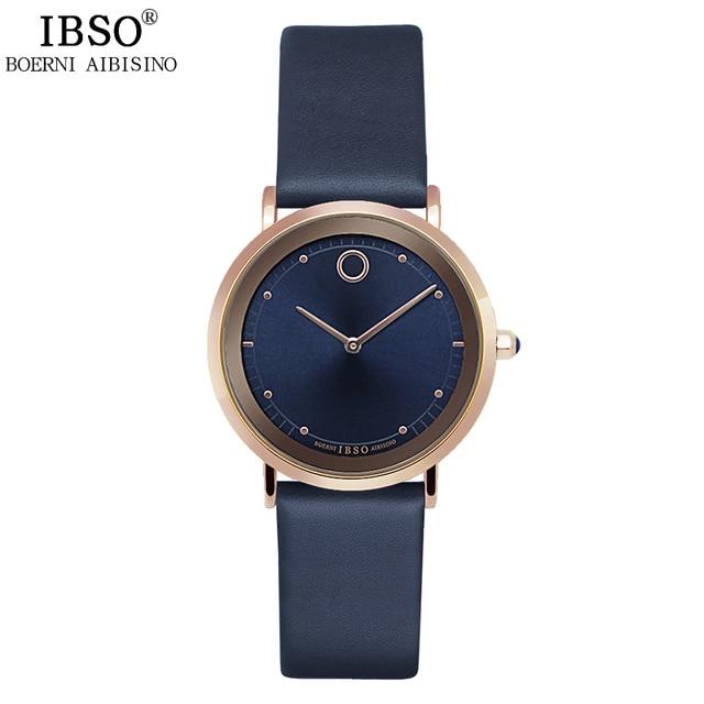 IBSO 2017 7.6MM Ultra-Thin Women Watches Fashion Waterproof Quartz Watch Women Luxury Genuine Leather Strap Montre Femme