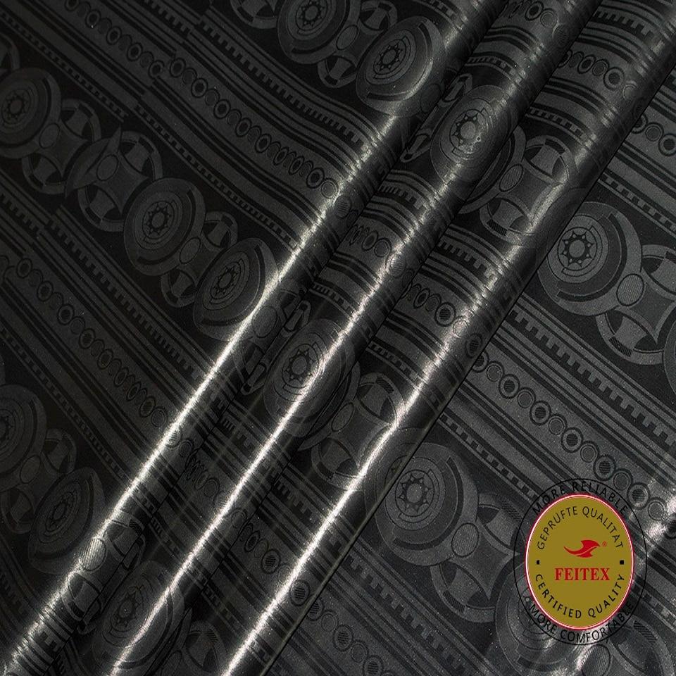 Feitex Bästa Jacquard 10Yards Fabric African Black Fabric 2019 - Konst, hantverk och sömnad