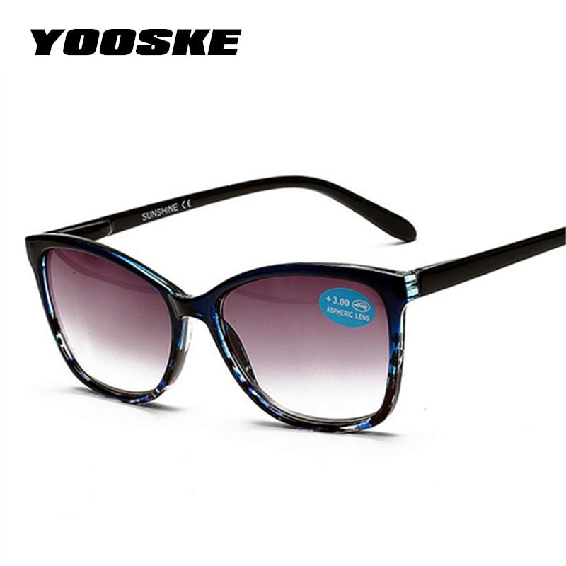 YOOSKE Retro TR90 Sunglasses Women Oversized Gray Brown Lens Reading Glasses For Men Hyperopia Presbyopia With Diopters Glasses