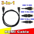 2016 New Full HD High Speed 3 in 1 HDMI TO HDMI Mini HDMI Micro HDMI Cable for Xbox 360 HDTV 1080P Mobile etc Adapter Hot