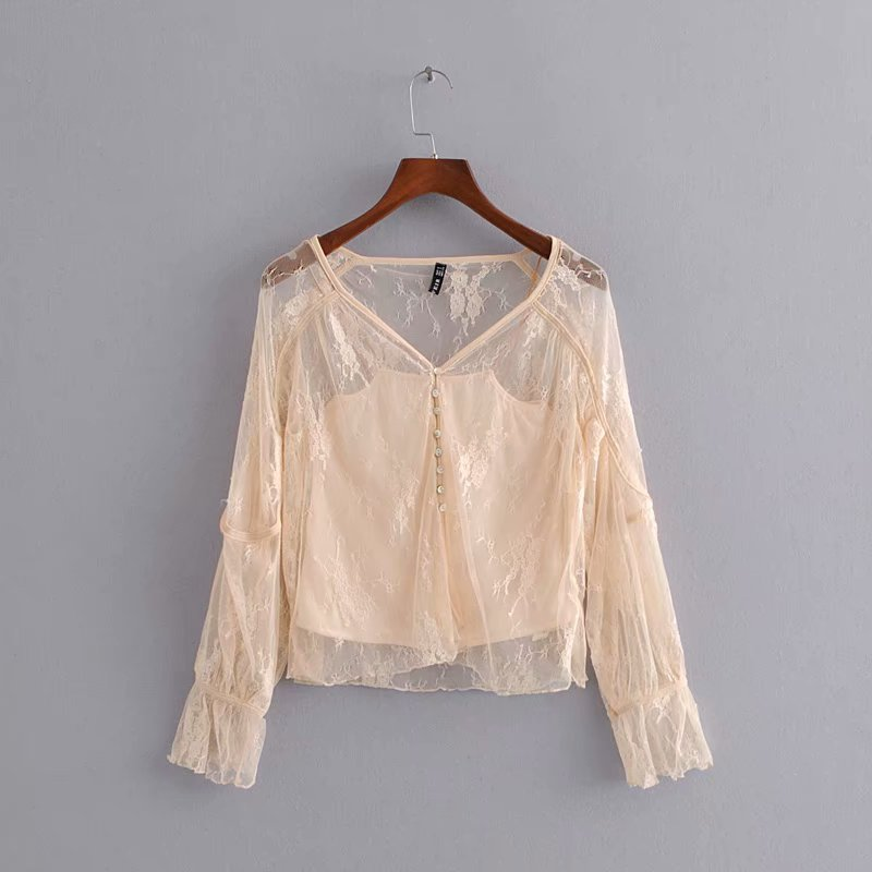 European and American women 39 s new light pink three dimensional lace blouse V neck long sleeved shirt with sling vest sweet suit in Blouses amp Shirts from Women 39 s Clothing