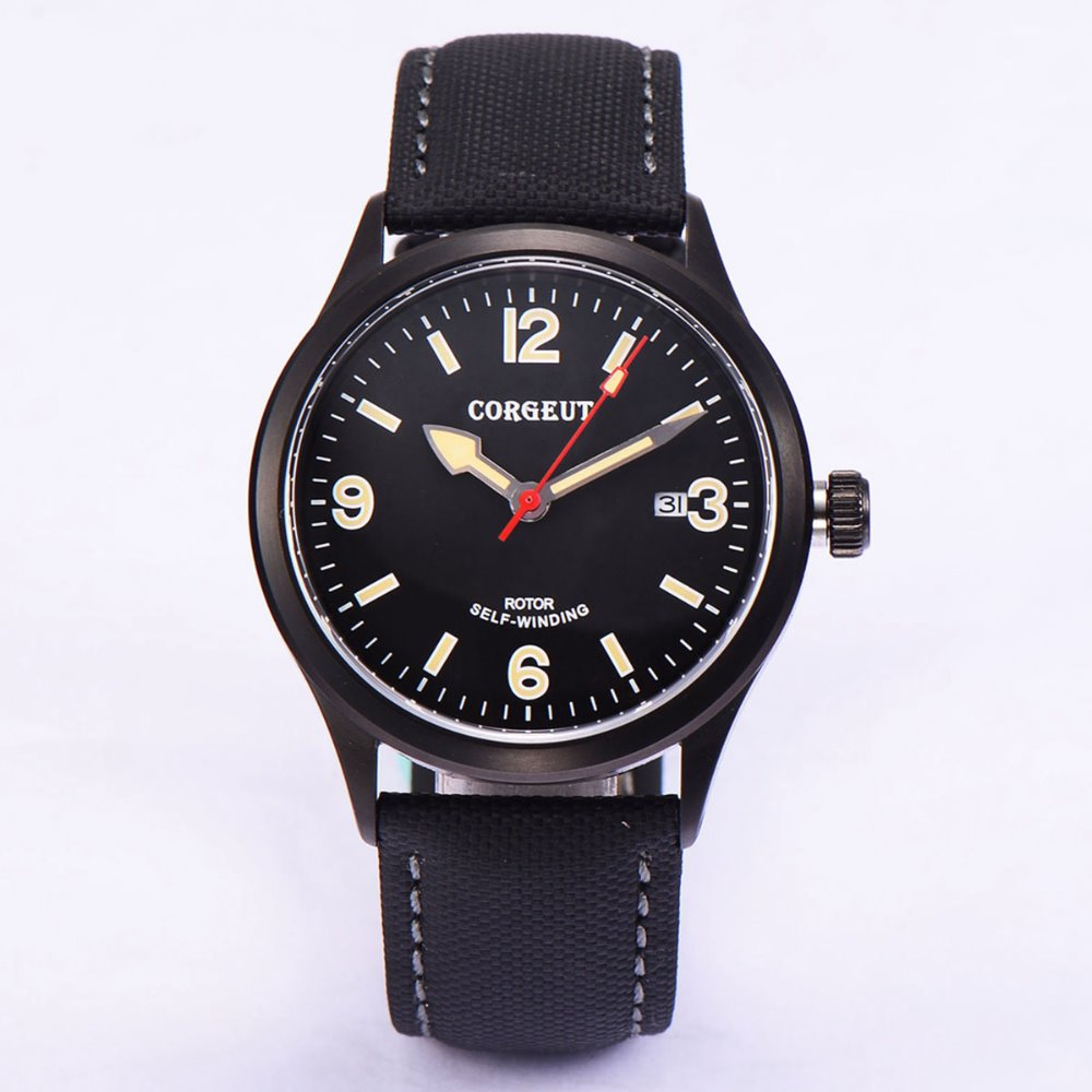 41mm corgeut black dial black PVD miyota 8215 Automatic movement mens watch polisehd 41mm corgeut black dial sapphire glass miyota automatic mens watch c102